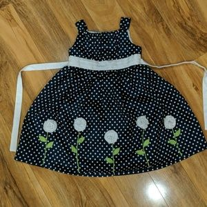 Navy dress with white dots and flowers (Girls 5)
